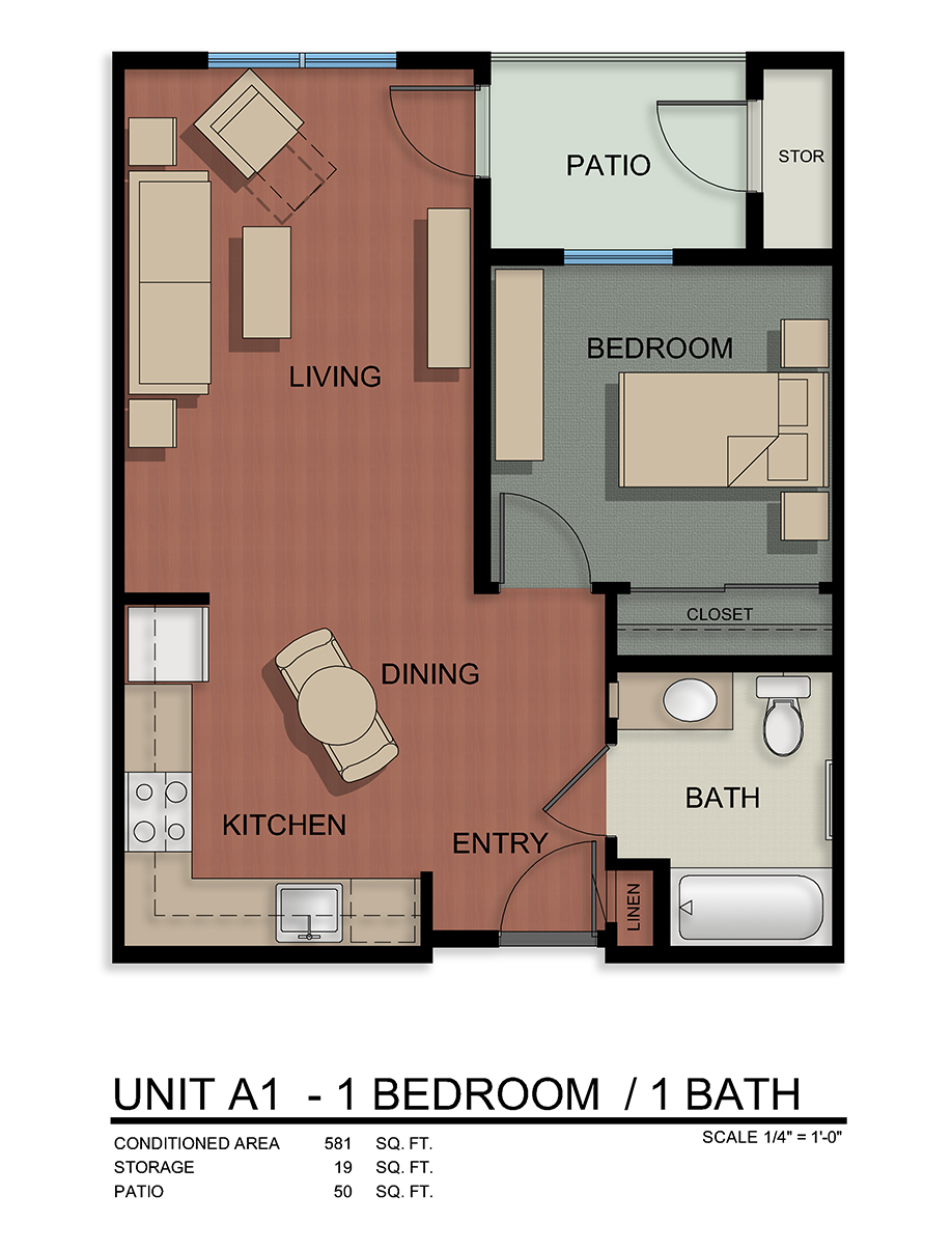 Unit A1-1 Bedroom/1 Bath