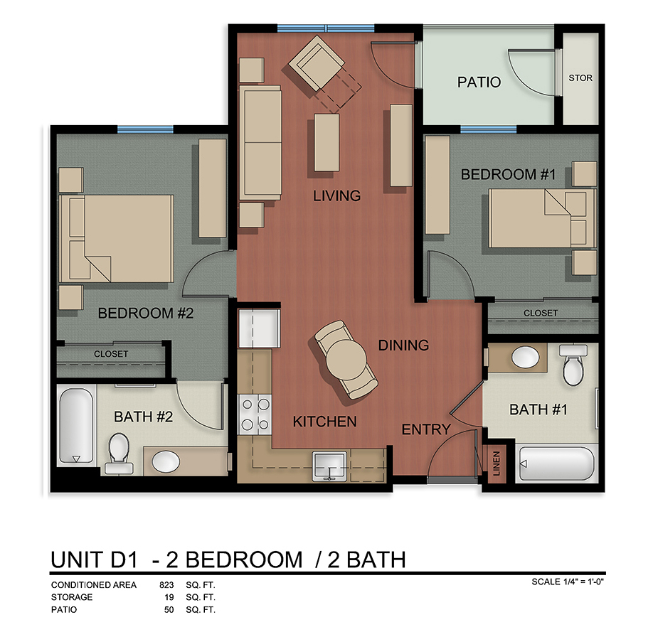 Unit D1-2 Bedroom/2 Bath